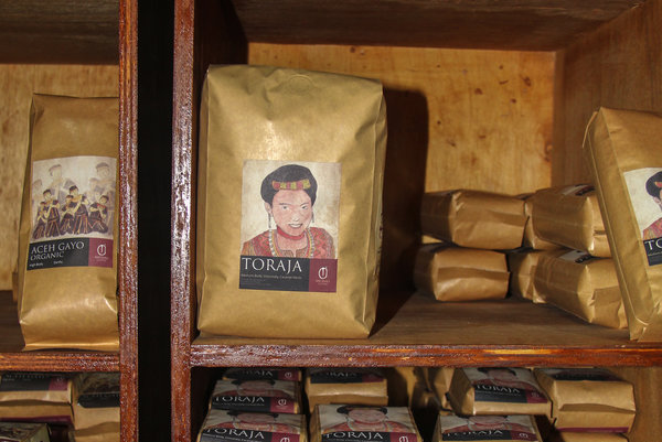 Packaged Indonesian coffee beans for sale at the Anomali Coffee shop in South Jakarta. (Photo Credit: Yosef Riadi for NPR)