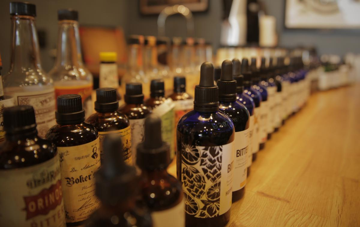 A line of different kinds of bitters at The Boston Shaker.