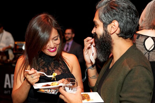 Couple enjoying food