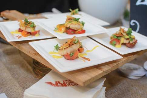 Four plates of shrimp hors d'oeurves