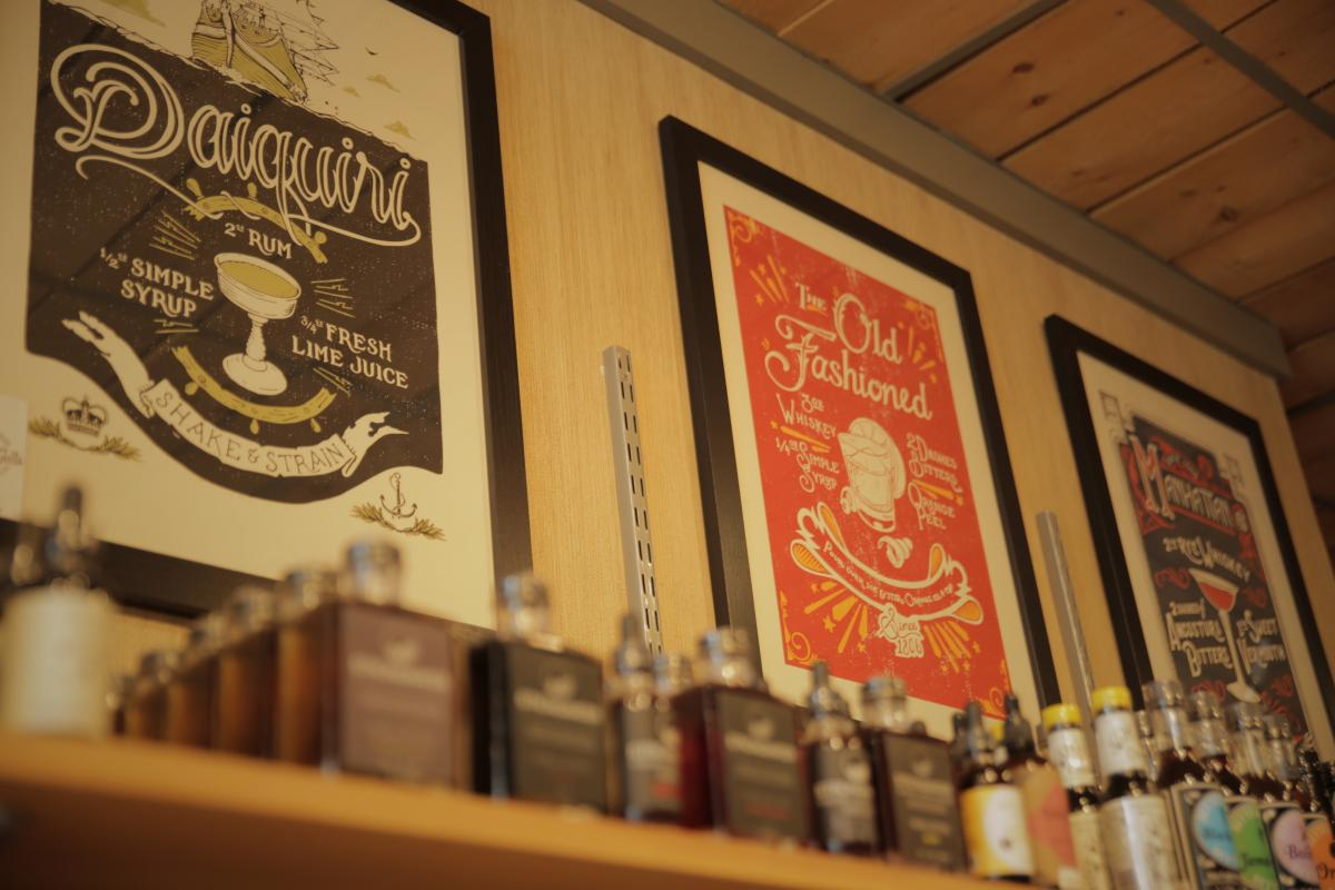 Local art posters for different types of classic drinks.