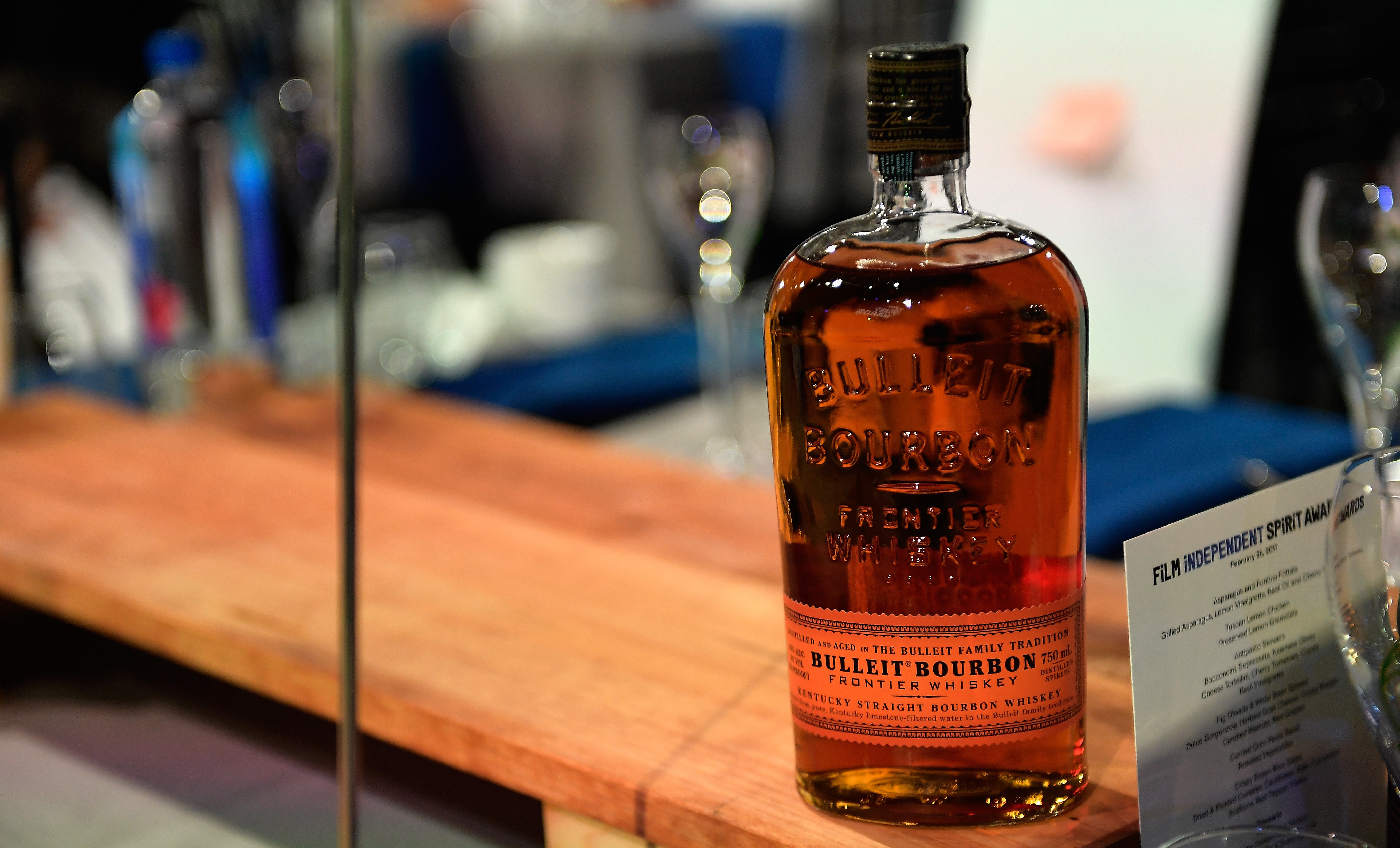 A bottle of Bulleit Bourbon is displayed at an awards ceremony in February in Santa Monica, Calif. American distillers say they are concerned about potential EU tariffs against bourbon, if the U.S. imposes a tariff on steel.