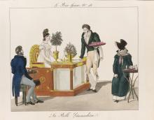 La Belle Limonadiere, hand coloured etching (1816)