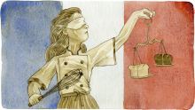 A watercolor of a young chef standing before the french flag. She holds scales with black bread and white bread on them.