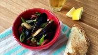 Pilsner-Steamed Mussels with Chorizo and Scallions | WGBH | Craving Boston